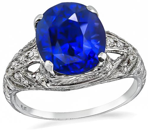 Edwardian Oval Cut Sapphire Diamond Platinum Engagement Ring