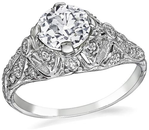 Vintage Old Mine Cut Diamond Platinum Engagement Ring