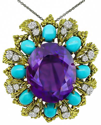 1960s Oval Cut Amethyst Round Cut Diamond Cabochon Turquoise 18k Yellow Gold Pin/Pendant