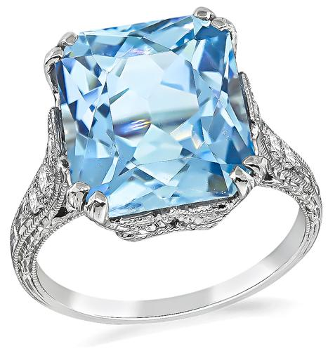 Edwardian Cushion Cut Aquamarine Round Cut Diamond Platinum Ring