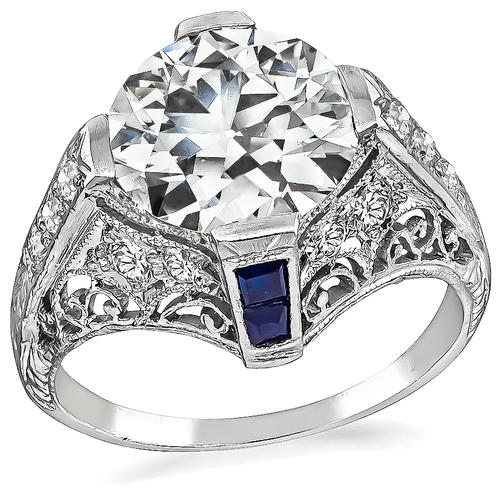 Art Deco Old European Cut Diamond Sapphire Platinum Engagement Ring