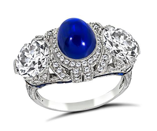 Art Deco Cabochon Kashmir Sapphire Old Mine Cut Diamond Platinum Ring