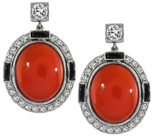 Cabochon Coral Onyx Round Cut Diamond 14k Yellow and White Gold Earrings