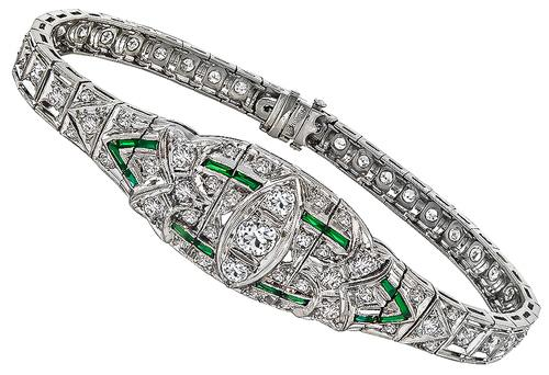 Art Deco Old Mine and Round Cut Diamond Emerald Platinum Bracelet