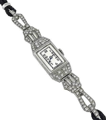 Art Deco Round and Baguette Cut Diamond Platinum Watch