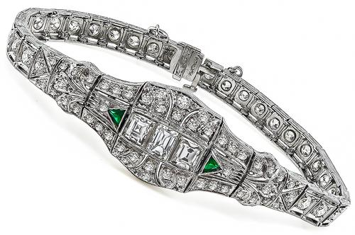 Art Deco Emerald Old Mine Round and Carre Cut Diamond Platinum Bracelet