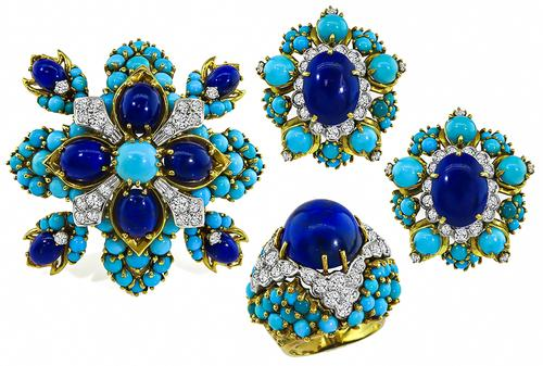 1960s Round Cut Diamond Cabochon Lapis and Turquoise 18k Yellow Gold Pin Earrings and Ring Set