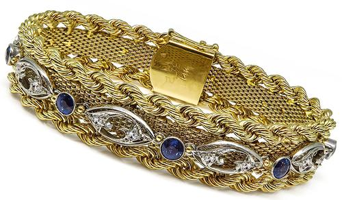 Art Deco and Arts and Crafts Round Cut Sapphire Round Cut Diamond 14k Yellow and White Gold Bracelet