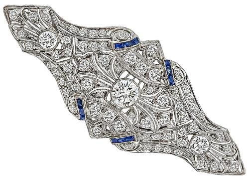Vintage Old Mine Cut Diamond Sapphire Platinum Pin