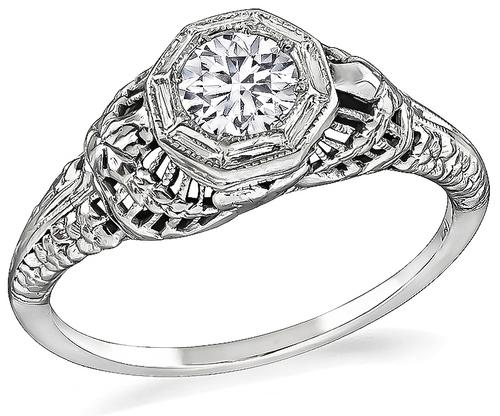 Edwardian Round Brilliant Cut Diamond 18k White Gold Engagement Ring