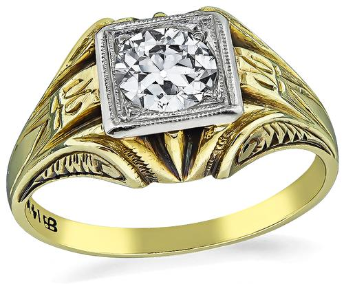 Vintage Old Mine Cut Diamond 14k Yellow and White Gold Men's Ring