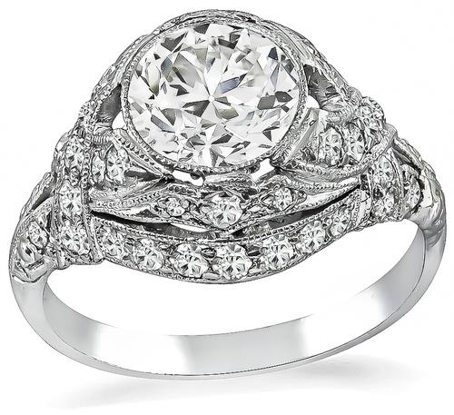 Art Deco European Cut Diamond 18k White Gold Engagement Ring