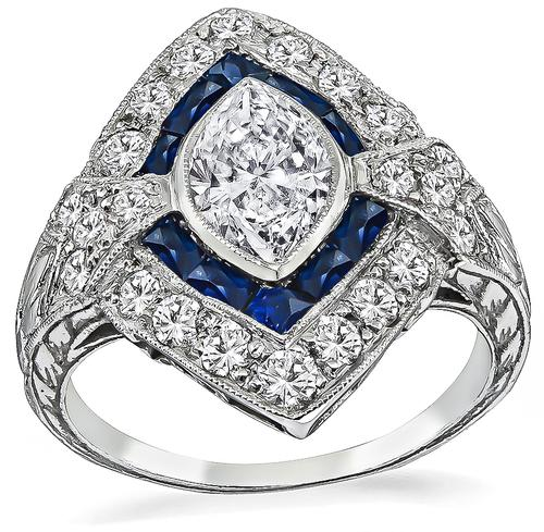Art Deco Marquise Cut Diamond Sapphire Platinum Engagement Ring