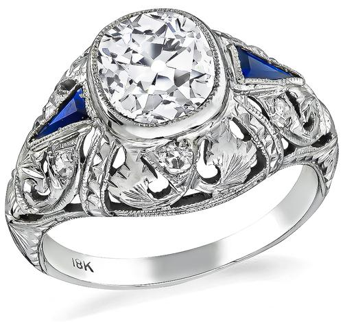 Art Deco Cushion Cut Diamond Sapphire 18k White Gold Engagement Ring