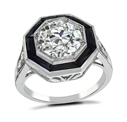Art Deco Style Old European Cut Diamond Onyx Platinum Engagement Ring