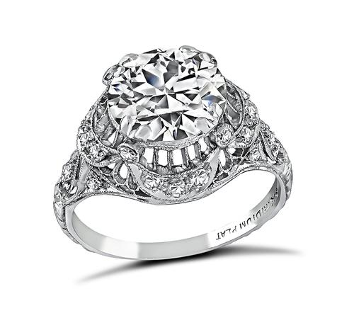 Art Deco Round Brilliant Cut Diamond Platinum Engagement Ring