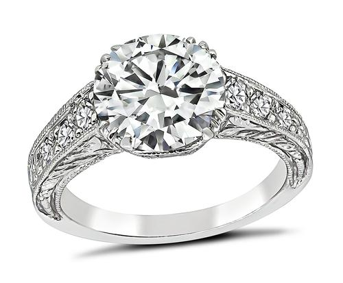 Vintage Round Brilliant Cut Diamond Platinum Engagement Ring