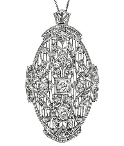 Art Deco Round Cut Center Diamond Old Mine Cut Diamond 14k White Gold Pin / Pendant