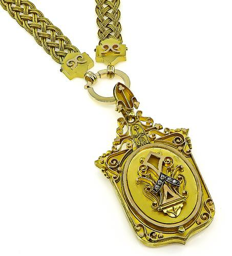 Vintage 14k Yellow Gold Victorian Locket Pendant Necklace