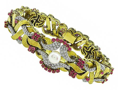 1960s Round Cut Diamond and Ruby Pearl 18k Yellow and White Gold Bracelet