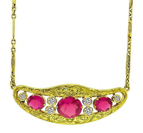 Victorian Oval Cut Rubellite Old Mine Cut Diamond 14k Yellow Gold Necklace