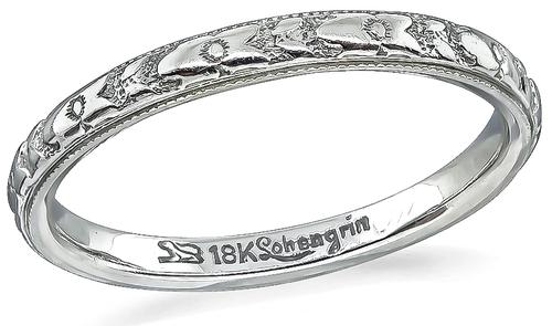 Vintage 18k White Gold Wedding Band