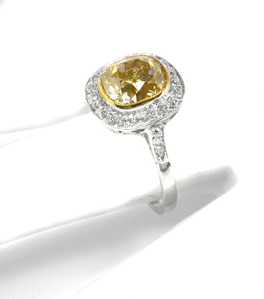 Engagement Rings | Art Deco 2.65ct Natural Yellow Diamond Platinum  Engagement Ring | New York Estate Jewelry | Israel Rose