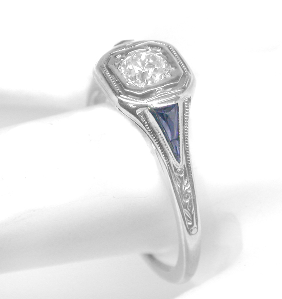 Engagement Rings | Art Deco Diamond Sapphire 18k White Gold Engagement Ring | New York Estate Jewelry | Israel Rose