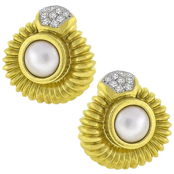 Estate 0.90ct Round Cut Diamond Mabe Pearl 18k Yellow Gold Earrings