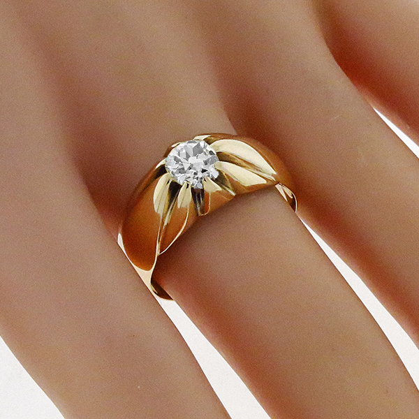 Victorian  1.00ct Natural Fancy Light Yellow  Old Mine Brilliant Diamond Solitaire 14k Rose Gold Engagement Ring