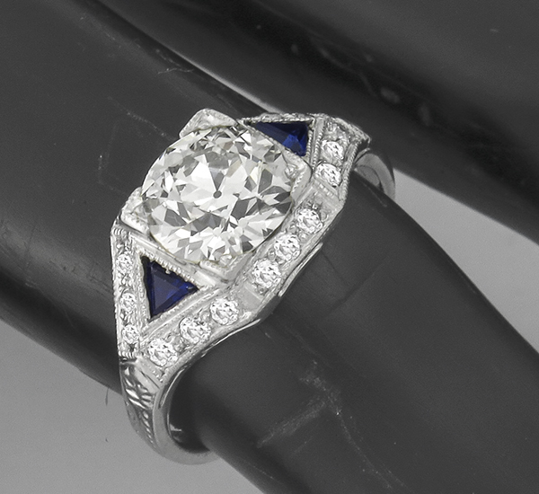 1.62ct diamond sapphire platinum engagement ring 3/4 view photo