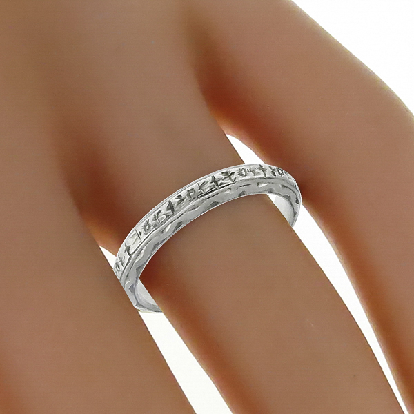 1920s 18K White Gold Wedding Band