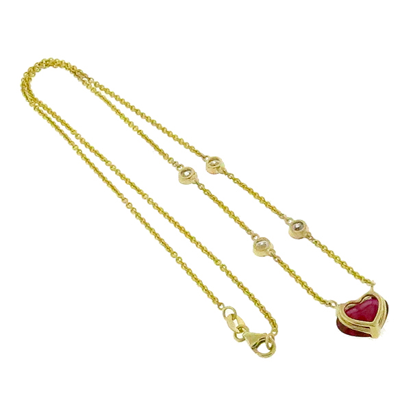 2.19ct Heart Ruby Diamond By The Yard Gold Necklace