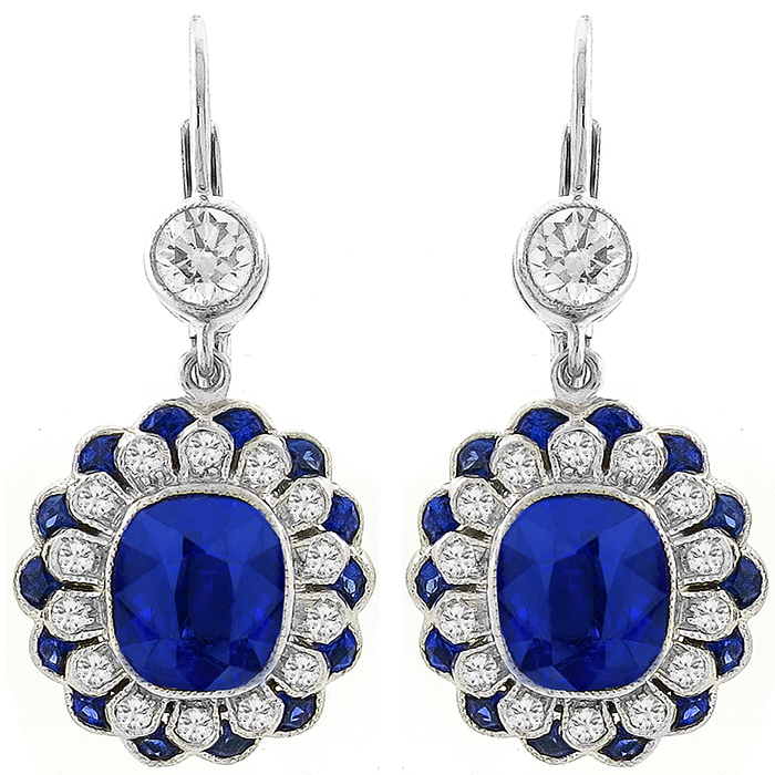 Estate 4.54ct Sapphire 1.04ct Diamond Gold Earrings