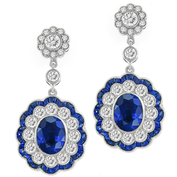 Art Deco Style 4.97ct Oval Cut Center And 2.48ct French Faceted Sapphire 3.52ct Round Cut Diamond 18k White Gold Drop Earrings