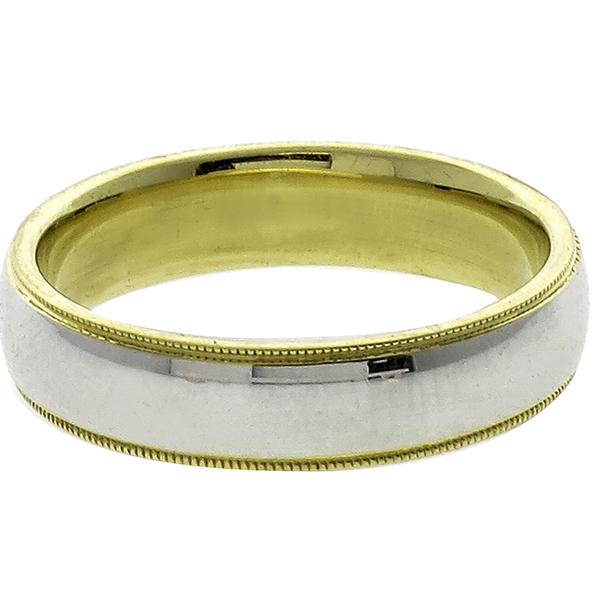 2 Tone Gold Milgrain Wedding Band
