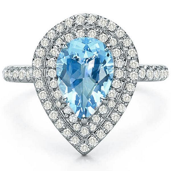 b78e6f8f9 Estate Tiffany & Co. Soleste 2.50ct Pear Shape Aquamarine 0.65ct Round  Brilliant Diamond Platinum Ring