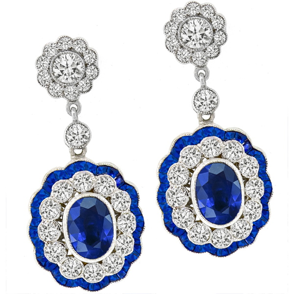 Estate  4.86ct Sapphire 2.56ct Diamond Gold Earrings | Israel Rose