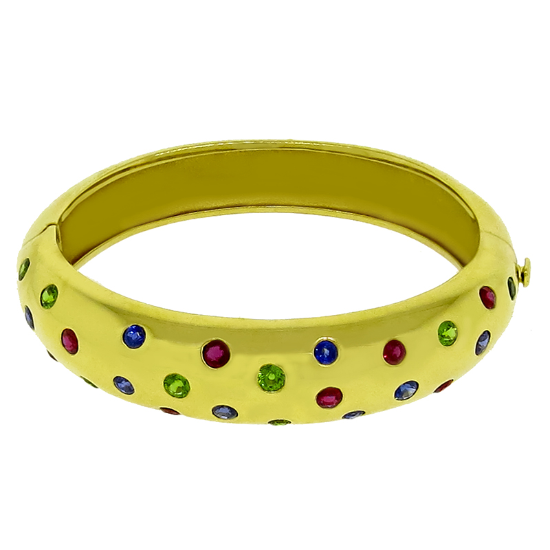 J Viteau Sapphire Emerald Ruby Gold Bangle