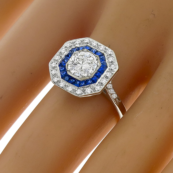 GIA 0.96ct Diamond Sapphire Gold Engagement Ring