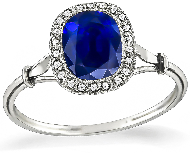 Antique 1.62ct Sapphire Engagement Ring