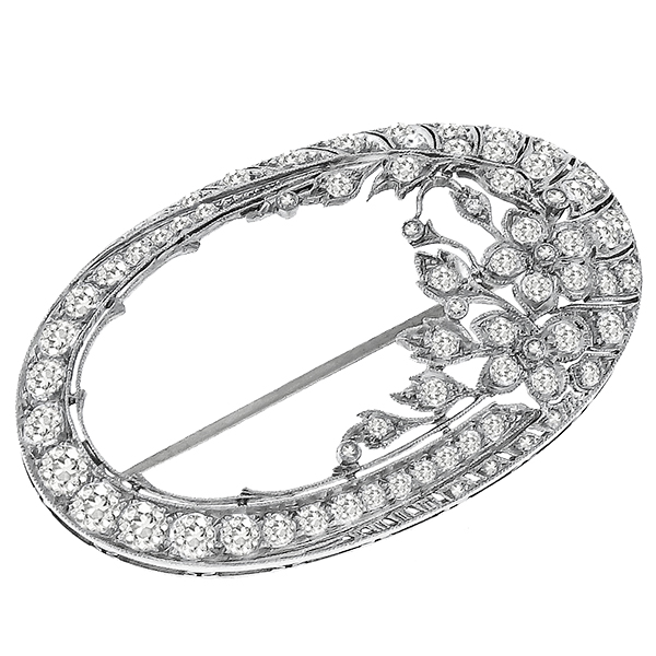 Diamond Platinum Oval Pin