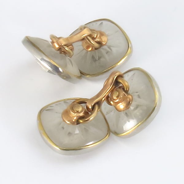 antique 14k yellow and white gold  cufflinks 1