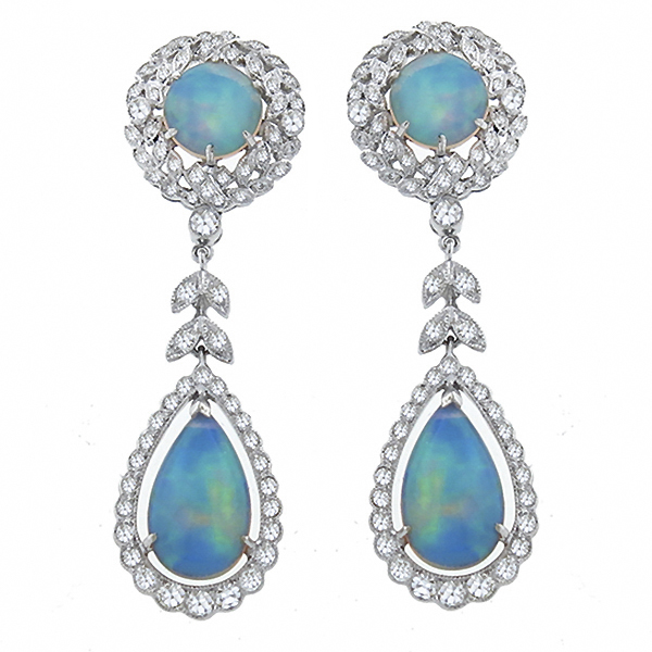18k white gold opal and diamond chandelier earrings 1