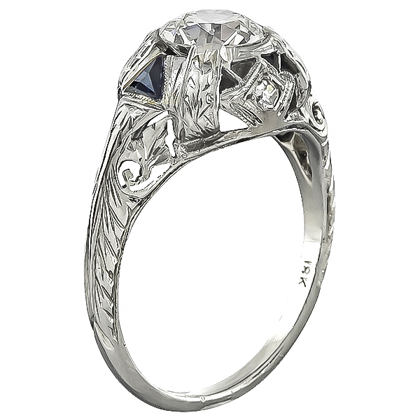 Vintage Old Mine Cut Diamond Sapphire 18k White Gold Engagement Ring