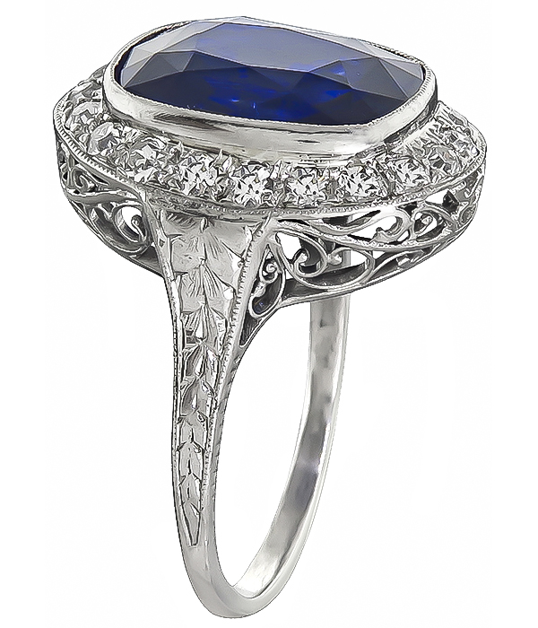 Art Deco 7.34ct Ceylon Sapphire 0.80ct Diamond Engagement Ring