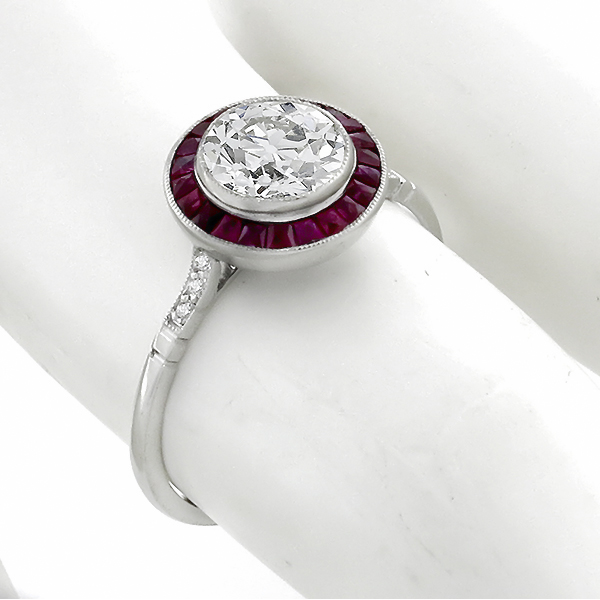 diamond ruby platinum engagement ring 1