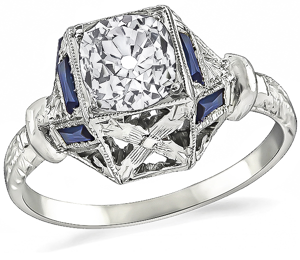 Art Deco GIA Certified 0.99ct Diamond Engagement Ring