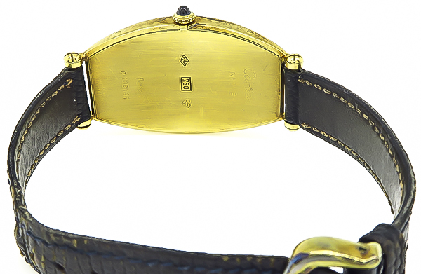 Cartier Tonneau 18k Leather Gold Strap Watch