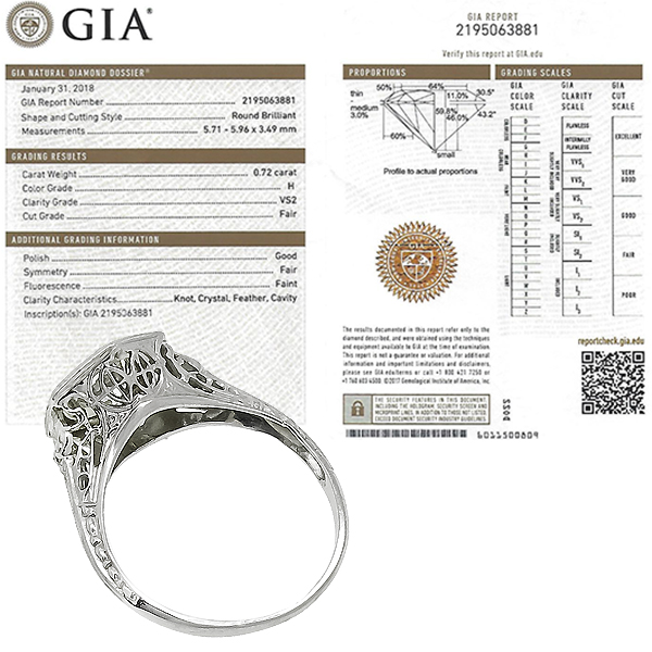 Antique Diamond 18k White Gold Engagement Ring